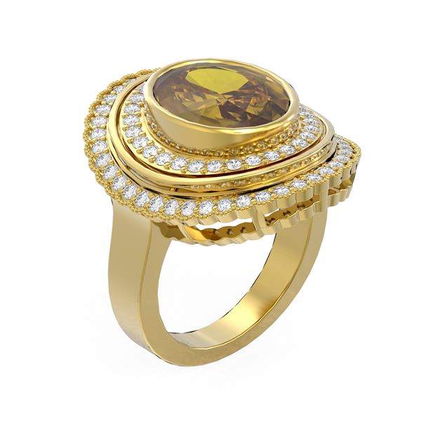7.16 ctw Canary Citrine & Diamond Ring 18K Yellow Gold - REF-206A9N