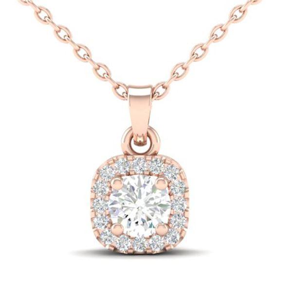 0.40 ctw Micro Pave VS/SI Diamond Necklace Halo 14k Rose Gold - REF-40M9G