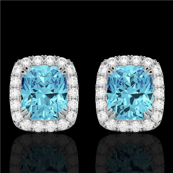 2.50 ctw Sky Blue Topaz & Micro VS/SI Diamond Earrings 10k White Gold - REF-30M8G