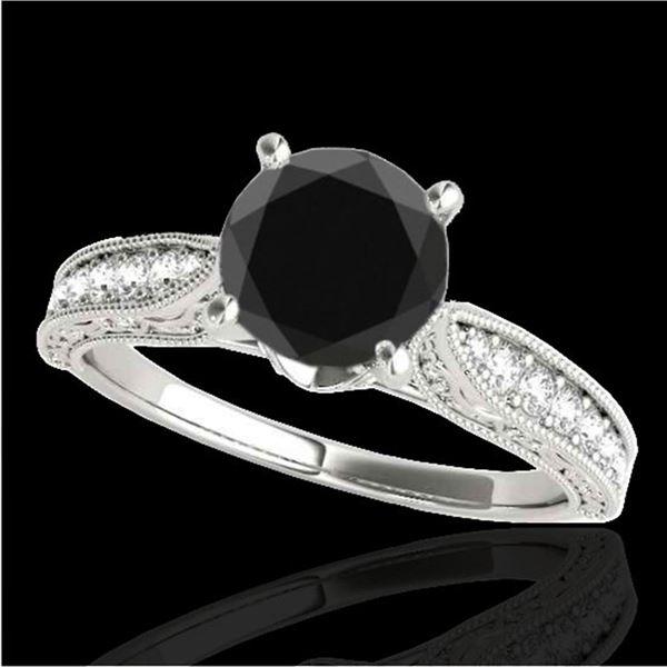 1.5 ctw Certified VS Black Diamond Solitaire Antique Ring 10k White Gold - REF-39G4W