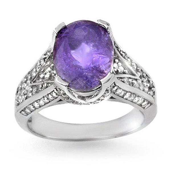 4.70 ctw Tanzanite & Diamond Ring 14k White Gold - REF-154A8N