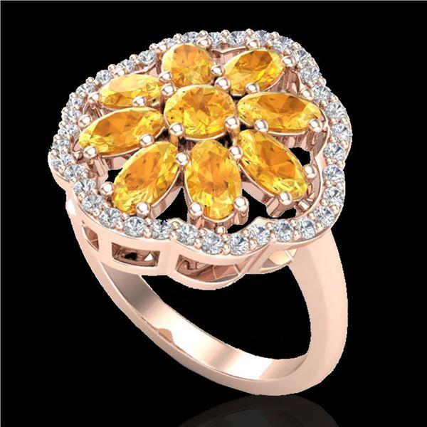 3 ctw Citrine & VS/SI Diamond Cluster Designer Ring 10k Rose Gold - REF-49R3K