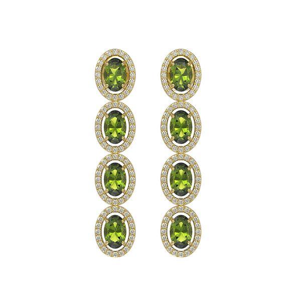 5.88 ctw Tourmaline & Diamond Micro Pave Halo Earrings 10k Yellow Gold - REF-143N6F