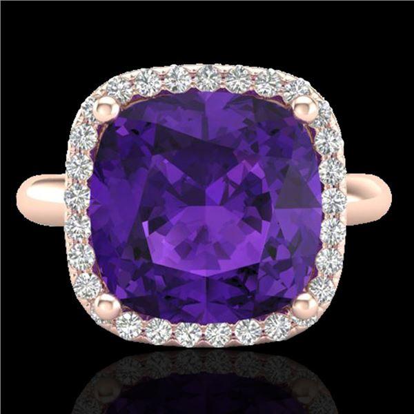 6 ctw Amethyst & Micro Pave Halo VS/SI Diamond Ring 14k Rose Gold - REF-38G2W