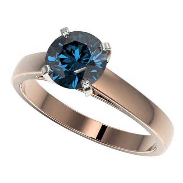 1.50 ctw Certified Intense Blue Diamond Engagment Ring 10k Rose Gold - REF-171G8W