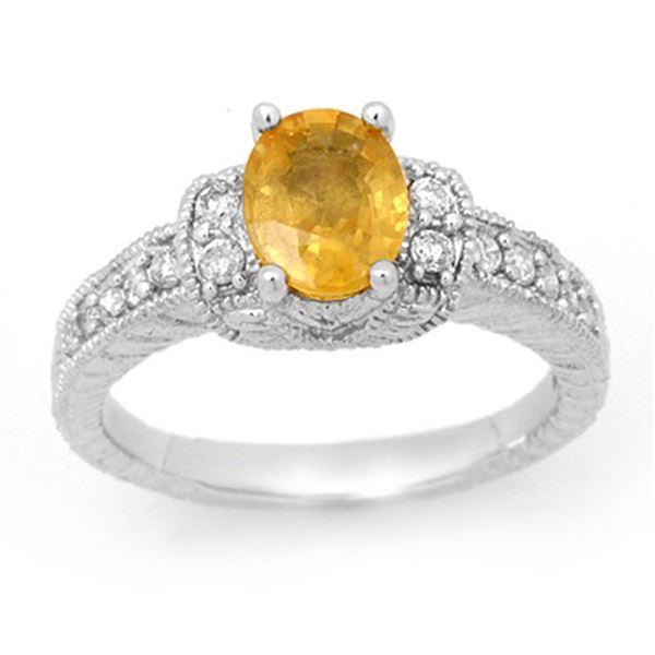 2.25 ctw Yellow Sapphire & Diamond Ring 14k White Gold - REF-50M2G