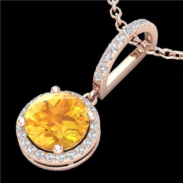 2 ctw Citrine & Micro Pave VS/SI Diamond Necklace 14k Rose Gold - REF-33M5G