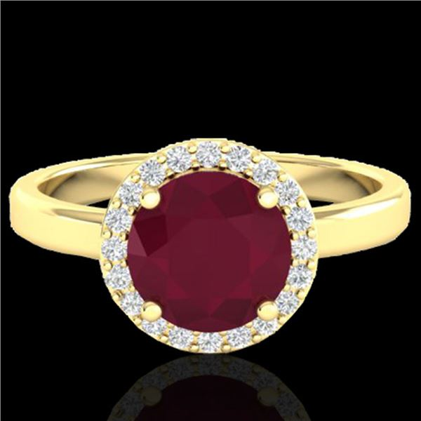 2 ctw Ruby & Halo VS/SI Diamond Micro Pave Ring 18k Yellow Gold - REF-45X3A