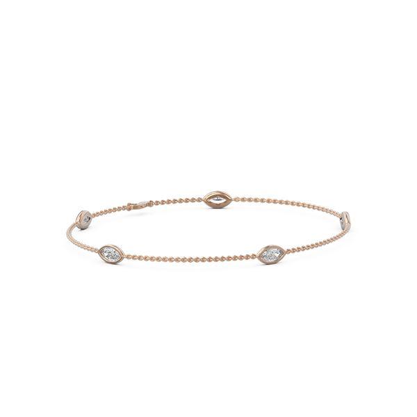 1.25 ctw Marquise Diamond Station Bracelet 18K Rose Gold - REF-224Y4X