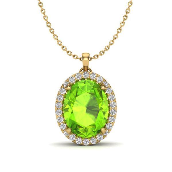 2.75 ctw Peridot & Micro VS/SI Diamond Halo Necklace 18k Yellow Gold - REF-39K9Y
