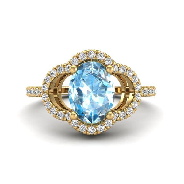 2 ctw TOPAZ & Micro Pave VS/SI Diamond Certified Ring 10k Yellow Gold - REF-30G2W