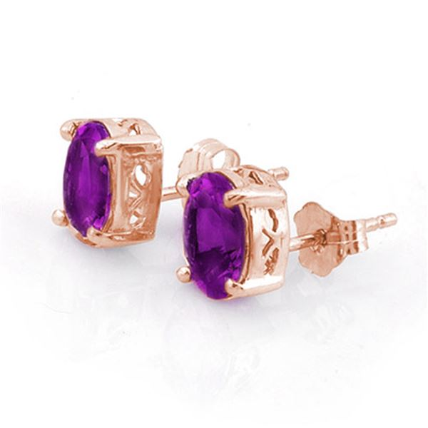 1.50 ctw Amethyst Earrings 14k Rose Gold - REF-10M3G