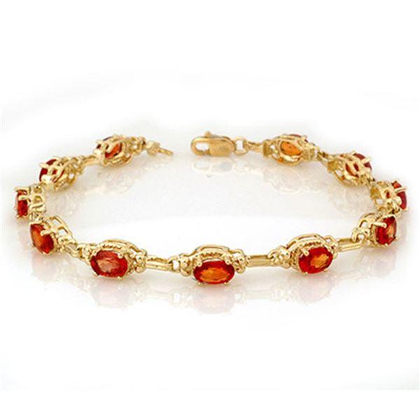 8.0 ctw Orange Sapphire Bracelet 10k Yellow Gold - REF-49X3A