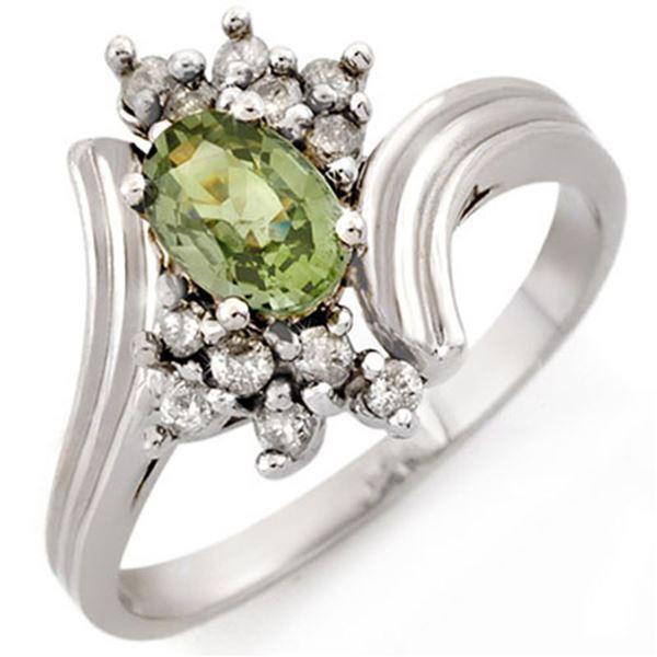 1.0 ctw Green Sapphire & Diamond Ring 10k White Gold - REF-23G9W