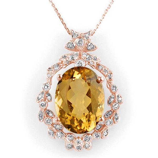12.8 ctw Citrine & Diamond Necklace 14k Rose Gold - REF-106A8N