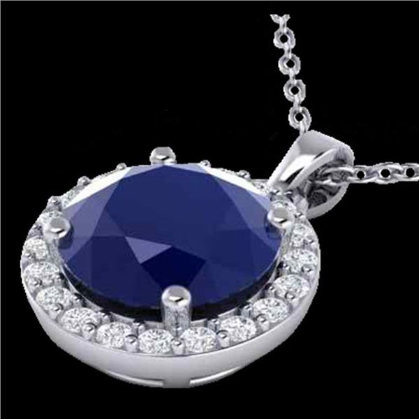 2 ctw Sapphire & Halo VS/SI Diamond Micro Pave Necklace 18k White Gold - REF-33Y2X
