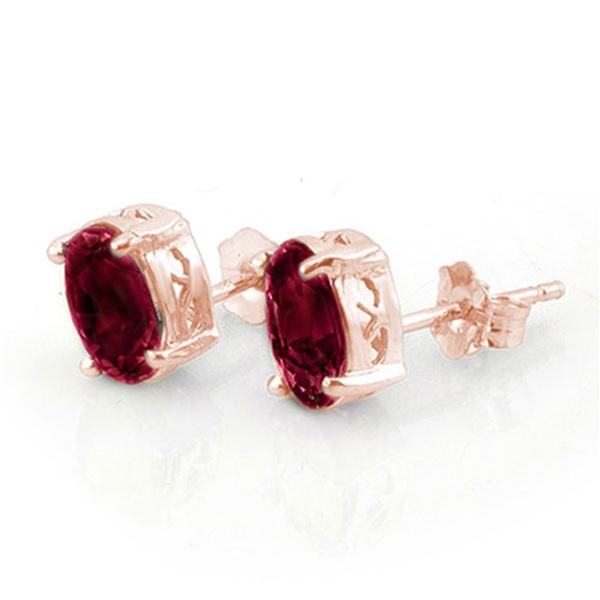 1.50 ctw Ruby Earrings 14k Rose Gold - REF-16H4R
