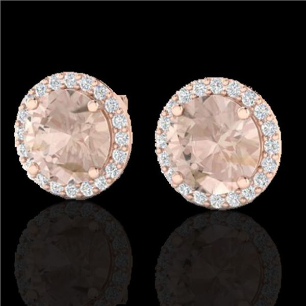 3 ctw Morganite & Halo VS/SI Diamond Micro Pave Earrings 14k Rose Gold - REF-53N2F