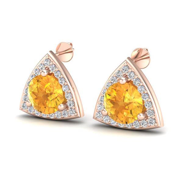 3 ctw Citrine & Micro Pave VS/SI Diamond Stud Earrings 14k Rose Gold - REF-42K3Y