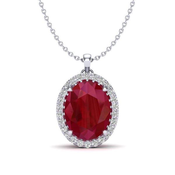 2.75 ctw Ruby & Micro VS/SI Diamond Certified Necklace 18k White Gold - REF-46F5M