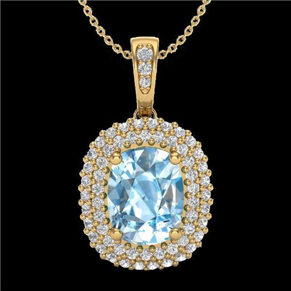 3 ctw Blue Topaz & Micro Pave VS/SI Diamond Necklace 10k Yellow Gold - REF-50R8K
