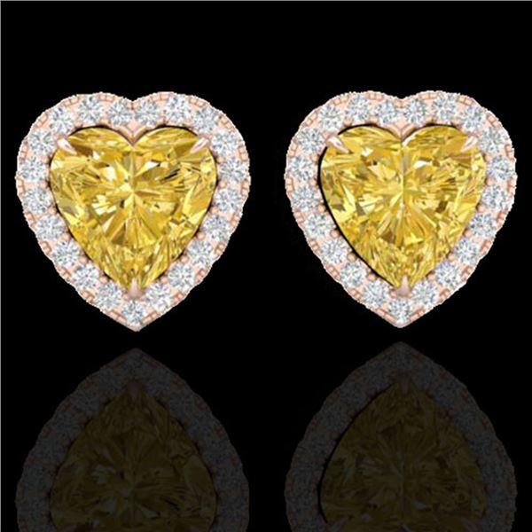 2 ctw Citrine & Micro Pave VS/SI Diamond EARRRING Heart 14k Rose Gold - REF-38R2K