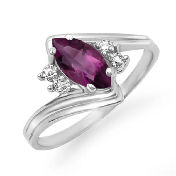 0.48 ctw Amethyst & Diamond Ring 18k White Gold - REF-18G3W