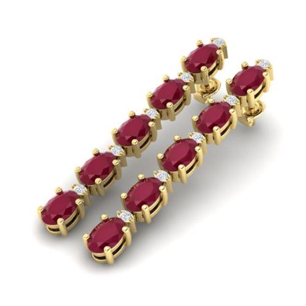 7 ctw Ruby & VS/SI Diamond Certified Tennis Earrings 10k Yellow Gold - REF-49M9G
