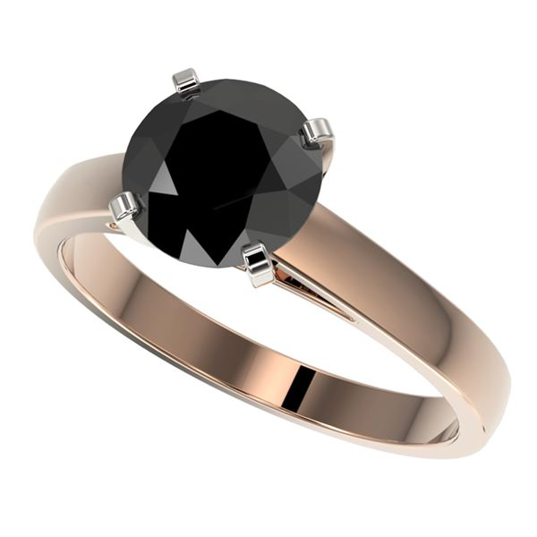 2 ctw Fancy Black Diamond Solitaire Engagment Ring 10k Rose Gold - REF-43K2Y
