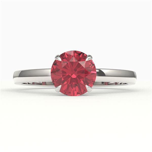 2 ctw Pink Tourmaline Designer Engagment Ring 18k White Gold - REF-31Y8X