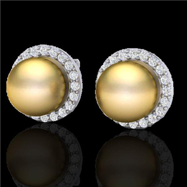 0.50 ctw Micro Pave Diamond & Golden Pearl Earrings 18k White Gold - REF-46N5F