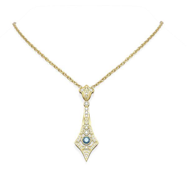 1.64 ctw Intense Blue Diamond Necklace 18K Yellow Gold - REF-184A2N
