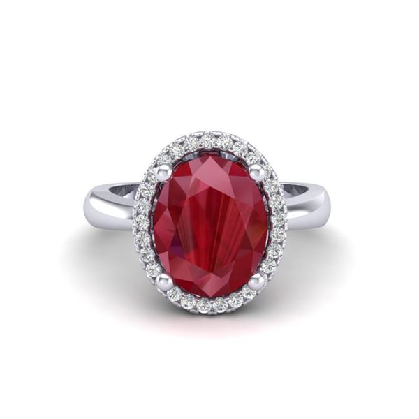 3 ctw Ruby & Micro Pave VS/SI Diamond Certified Ring 18k White Gold - REF-50M3G