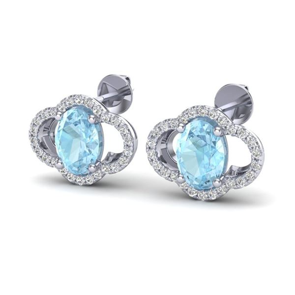 4 ctw Aquamarine & Micro Pave VS/SI Diamond Earrings 10k White Gold - REF-51H3R