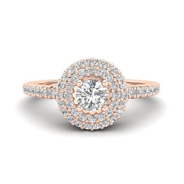 0.70 ctw Micro Pave VS/SI Diamond Designer Ring Halo 14k Rose Gold - REF-51R9K