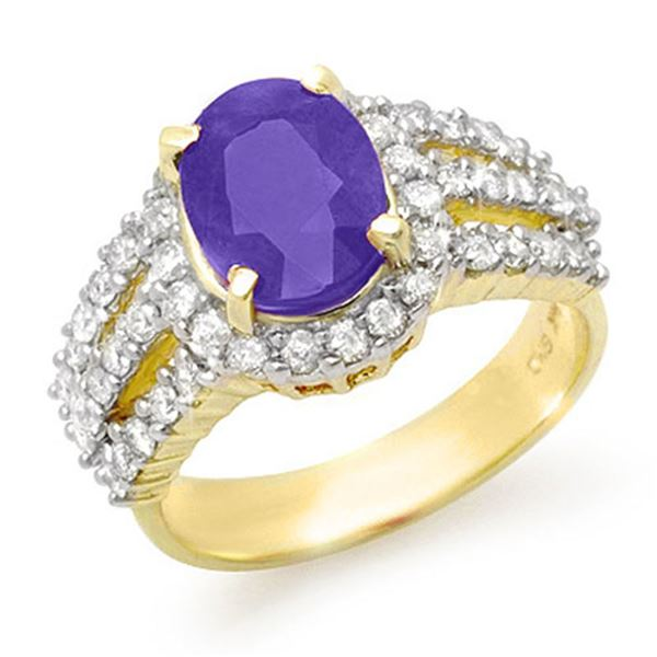 4.70 ctw Tanzanite & Diamond Ring 14k Yellow Gold - REF-152W8H