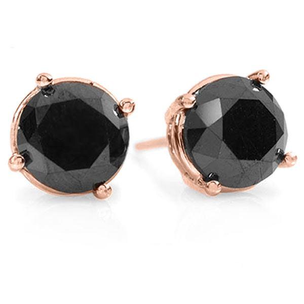 3.0 ctw VS Certified Black Diamond Stud Earrings 18k Rose Gold - REF-53M3G