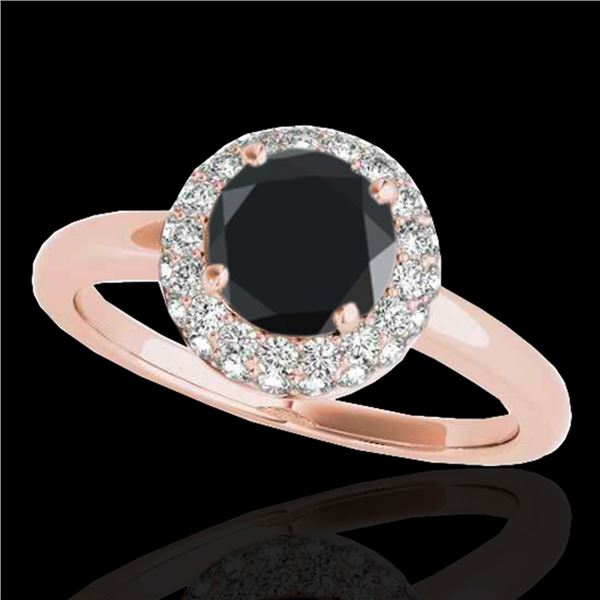 1.43 ctw Certified VS Black Diamond Solitaire Halo Ring 10k Rose Gold - REF-49Y2X