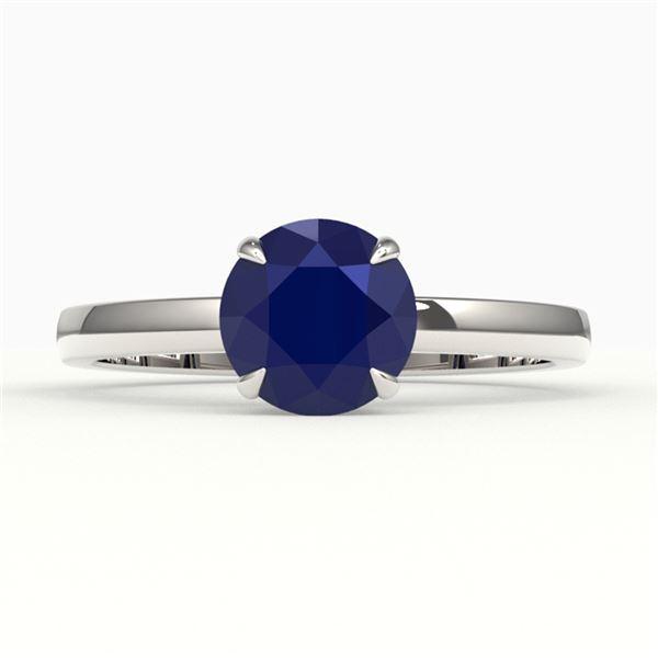 2 ctw Sapphire Designer Engagment Ring 18k White Gold - REF-26F3M