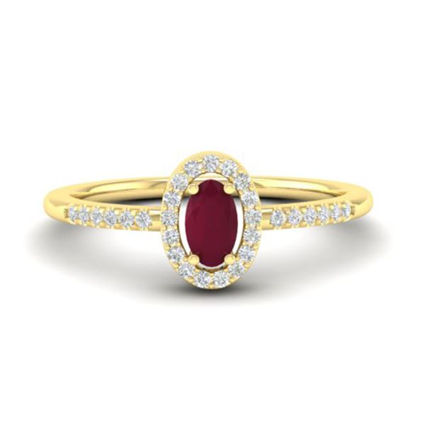 0.56 ctw Ruby & Micro Pave VS/SI Diamond Certified Ring 18k Yellow Gold - REF-23R5K