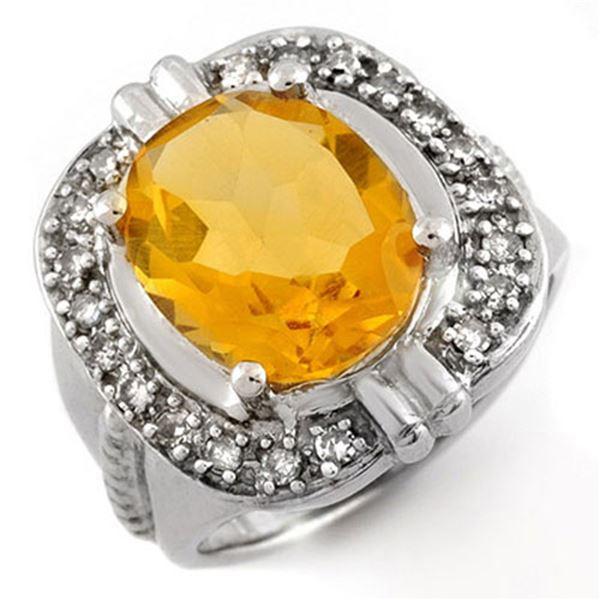 4.68 ctw Citrine & Diamond Ring 14k White Gold - REF-53A8N