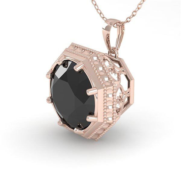 1 ctw Black Diamond Solitaire Necklace Art Deco 14k Rose Gold - REF-29X9A