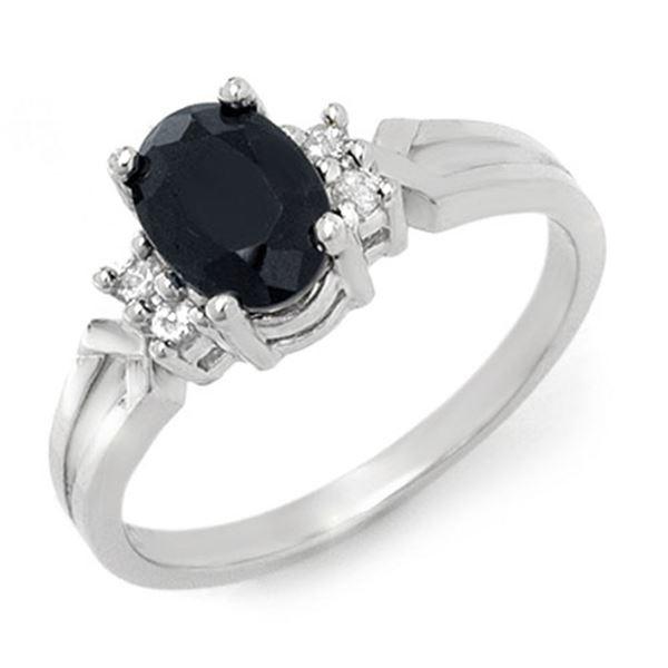 1.29 ctw Blue Sapphire & Diamond Ring 18k White Gold - REF-23Y2X