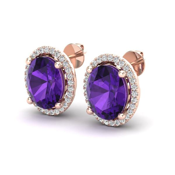 5 ctw Amethyst & Micro Pave VS/SI Diamond Earrings 14k Rose Gold - REF-53X5A