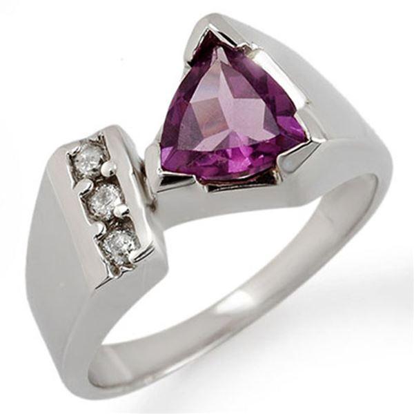 1.0 ctw Amethyst & Diamond Ring 10k White Gold - REF-24Y3X