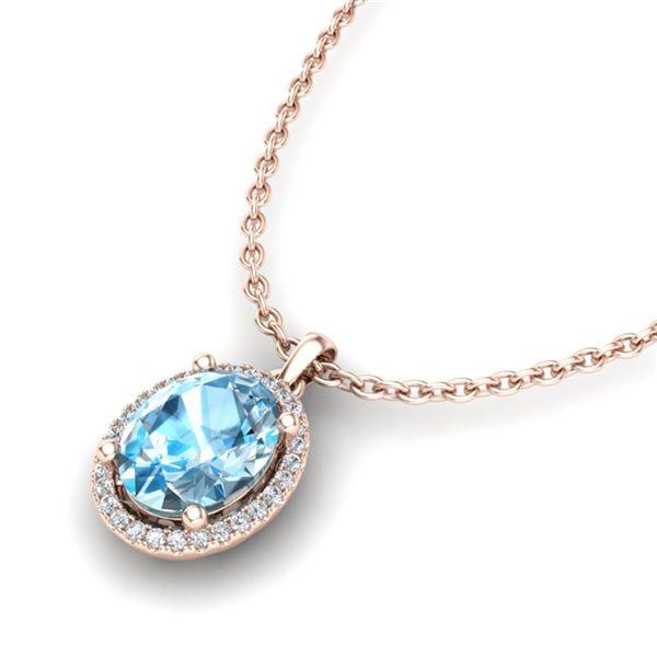 3 ctw Sky Blue Topaz & Micro Pave Diamond Necklace 14k Rose Gold - REF-32H8R