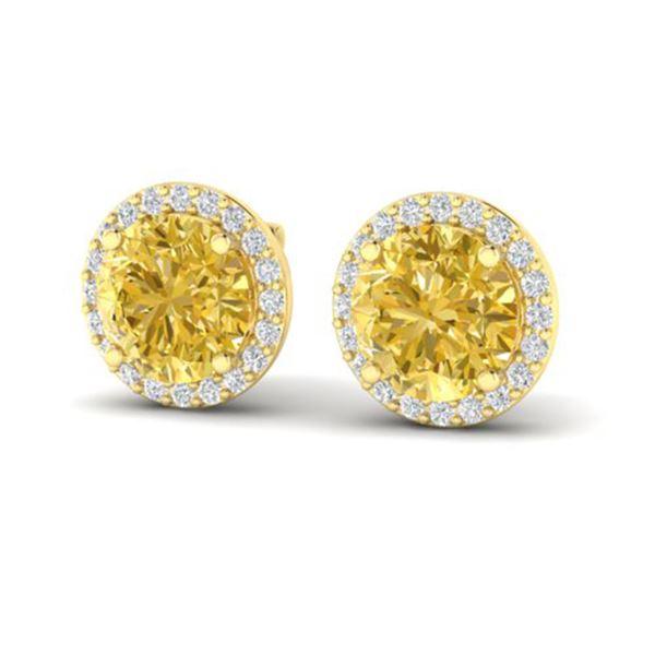 4 ctw Citrine & Halo VS/SI Diamond Micro Pave Earrings 18k Yellow Gold - REF-49G3W