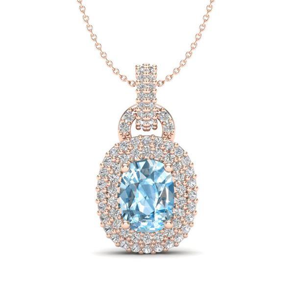 2.50 ctw Sky Blue Topaz & Micro Pave Diamond Necklace 14 14k Rose Gold - REF-52N8F