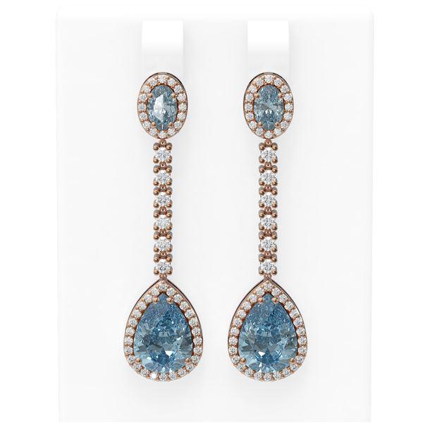 7.27 ctw Blue Topaz & Diamond Earrings 18K Rose Gold - REF-170H2R