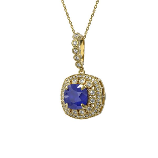 6.58 ctw Sapphire & Diamond Victorian Necklace 14K Yellow Gold - REF-209H3R